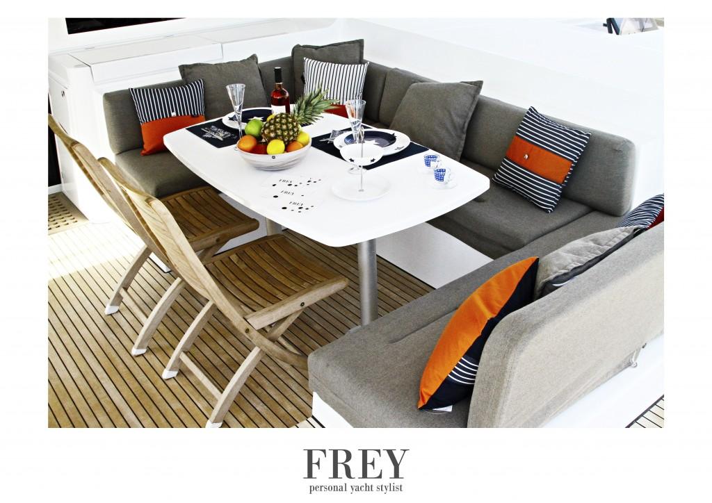 Lagoon 52 with Frey luxury pillows