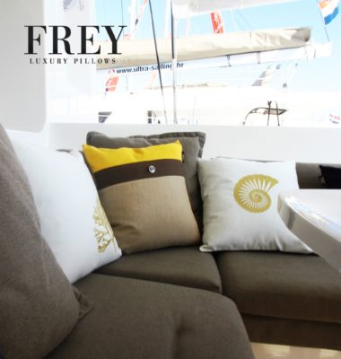 Frey luxury pillows in yacht exterior