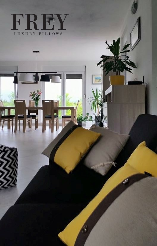 Yellow pillows in home decoration