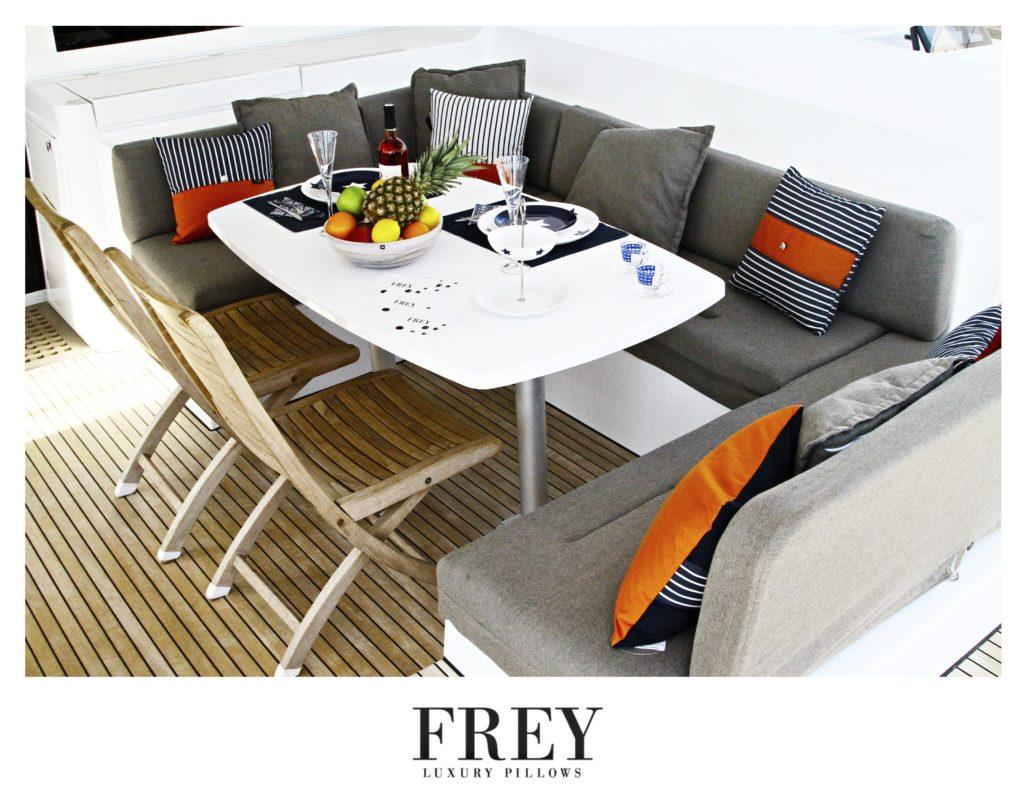 Orange decorative yacht pillows