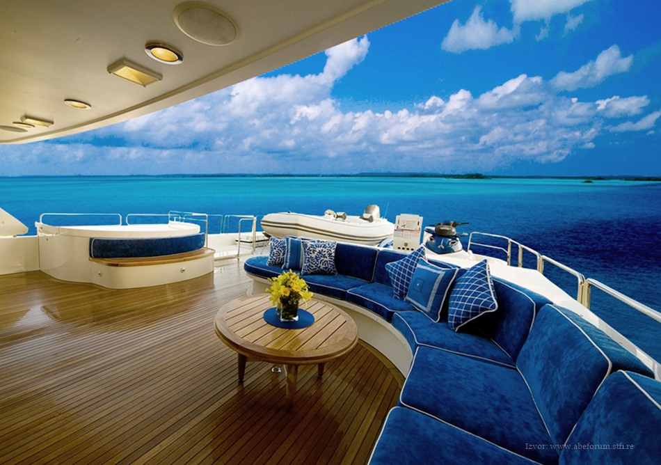 Blue color in yacht interior