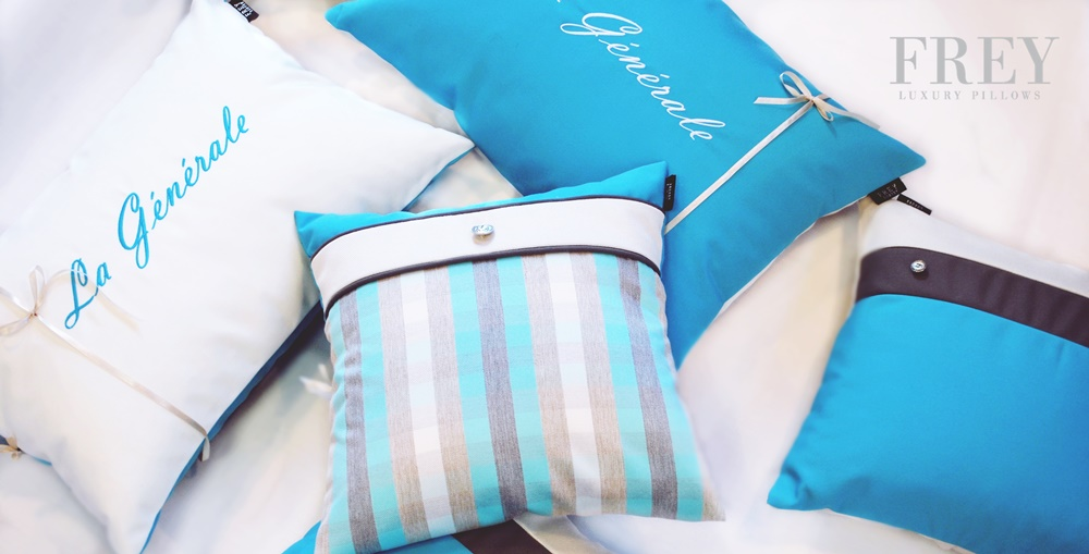 personalized emboidery on yacht decor - custom pillows