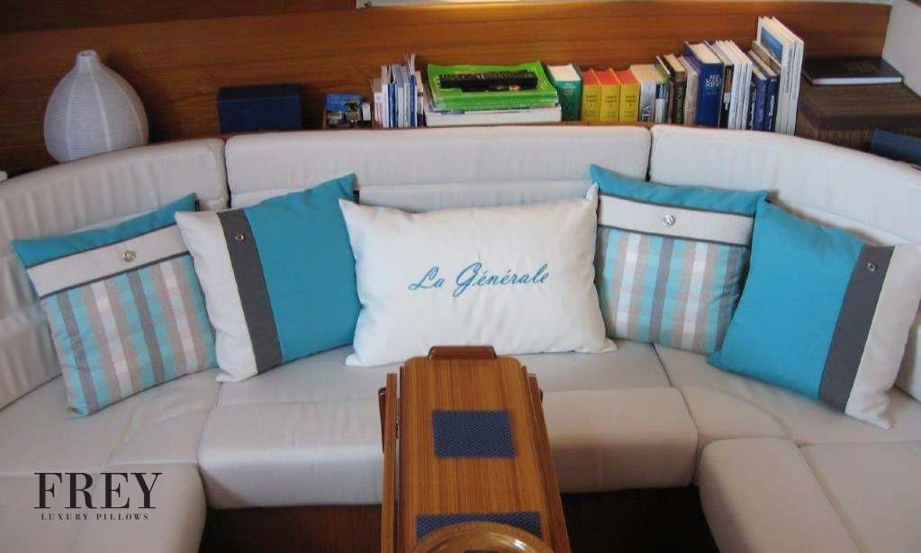 Personalized embroidery on luxury yacht decor