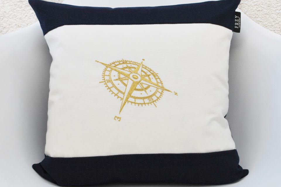Nautical pillow with embroidery