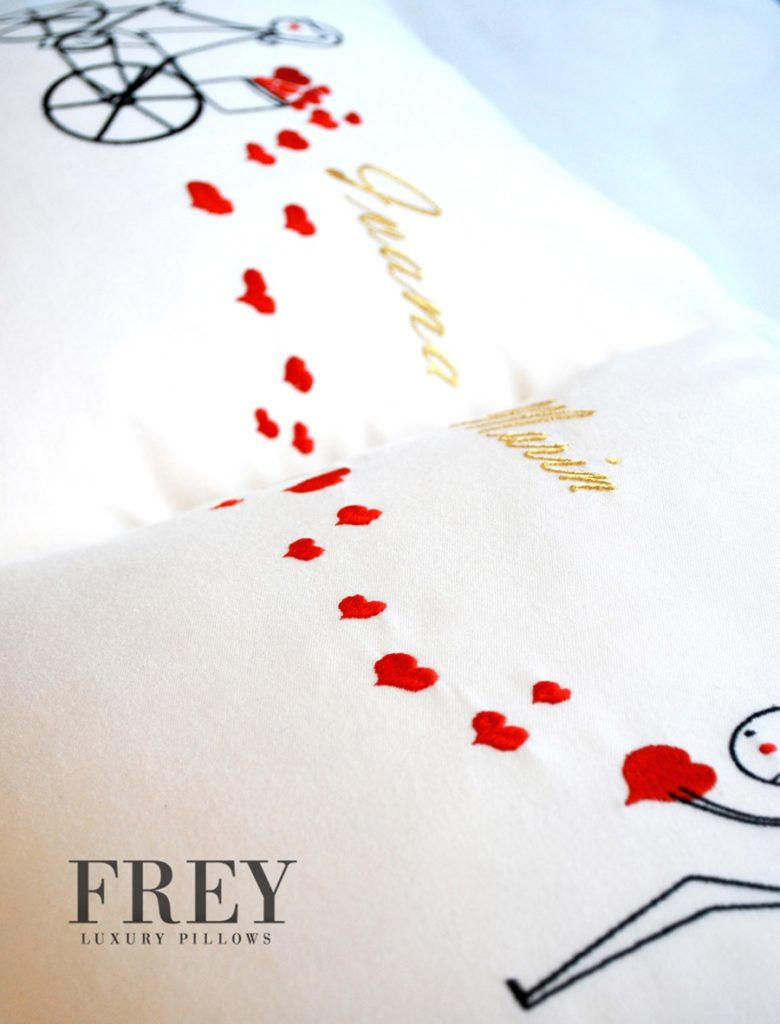 Wedding gift - luxury pillows with love embroidery